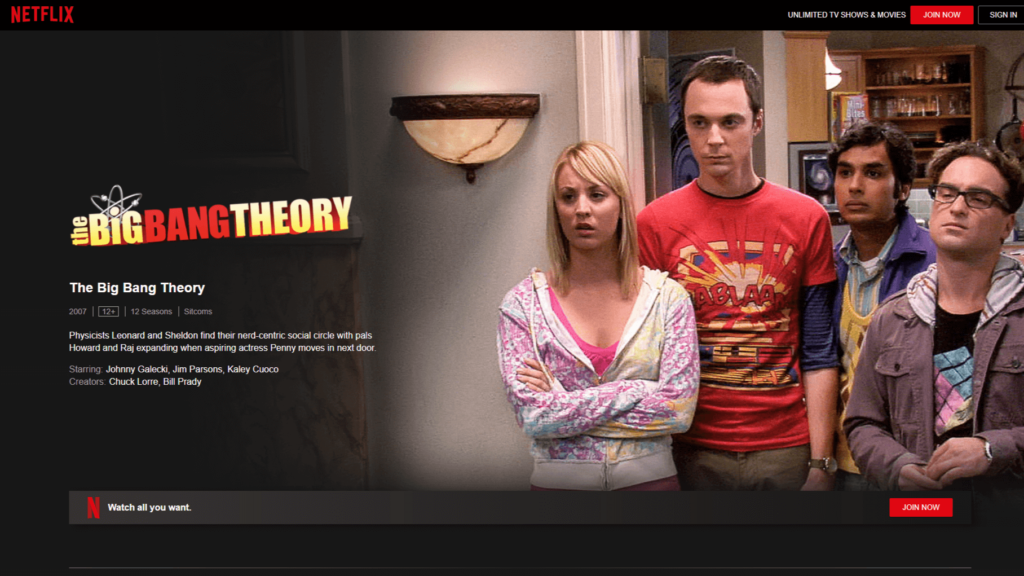La serie 'The Big Bang Theory', en Netflix